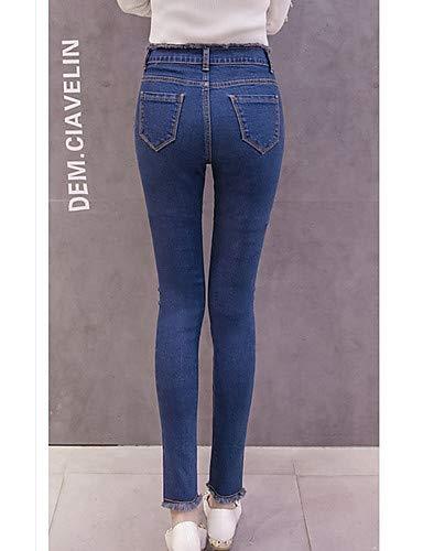 Split Femme Jeans Color pour Black Pantalon YFLTZ Uni Basic xEgqwIWX