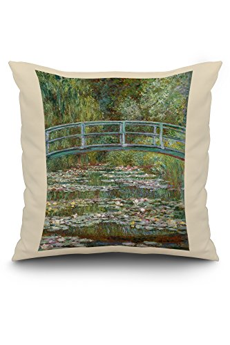 Bridge over a Pond of Water Lilies - Masterpiece Classic - Artist: Claude Monet c. 1899 (20x20 Spun Polyester Pillow, White ()