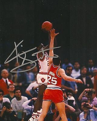 Autographed Keith Smart Photograph - INDIANA HOOSIERS 8X10 1987 GAME WINNING SHOT COA - Autographed NBA Photos by...