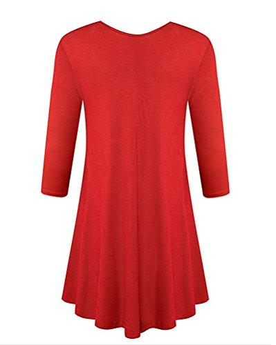 Mujer Mini Manga Vestir Rojo Camiseta Recta Vestido Casual Loose z1Snwqf