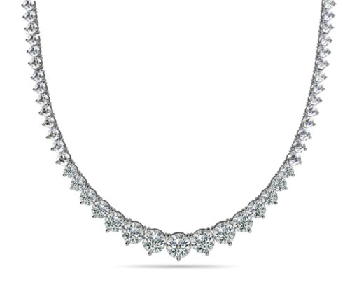 Madina Jewelry 8.00 Ct Ladies Graduated Round Cut Diamond Necklace In 14 Kt White Gold ()