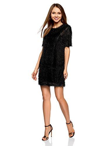 oodji Ultra Mujer Vestido Recto de Pelo Negro (2900n)