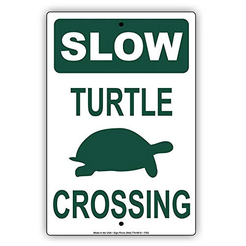 KPSheng Slow Turtle Crossing with Graphic No Speeding Hilarious Epic Funny Novelty Caution Alert Notice Aluminum Note Metal 8 x 12 Sign Plate from KPSheng