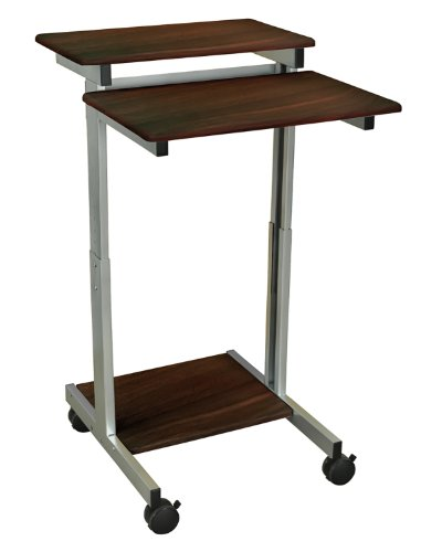 - Luxor Mobile Stand-Up Computer Presentation Cart With Silver Gray Frame And Dark Walnut Laminated Shelves Electronics, Accessories, Computer