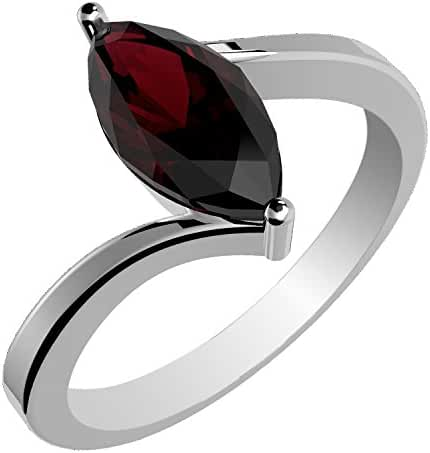 1.15ctw Genuine Garnet Marquise & Solid .925 Sterling Silver Rings