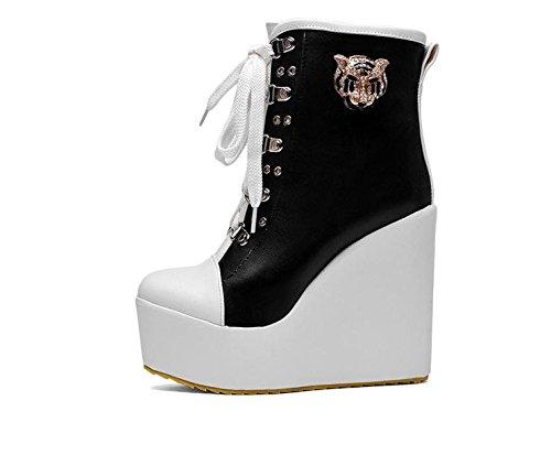 LvYuan Botas del tobillo de las mujeres / charol / oficina y carrera / talón alto de la cuña / Comfort / Lace-up Oxfords / cargadores de Martin / zapatos planos al aire libre del flatform Black