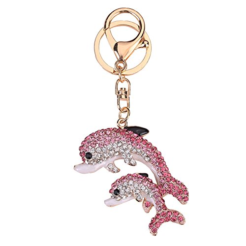 preliked Stylish Double Dolphins Shape Keychain Rhinestone Car Key Ring Bag Pendant - Pink ()