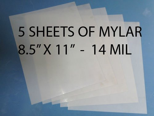 Heavy Duty 14mil Mylar Stencil Sheets - .014'' Thick Polyester Sheet 8.5'' x 11'' (5-PACK)