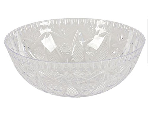 Multipack - Set of 2 Crystal-Cut Clear Plastic Bowls - 11.5x4-in.