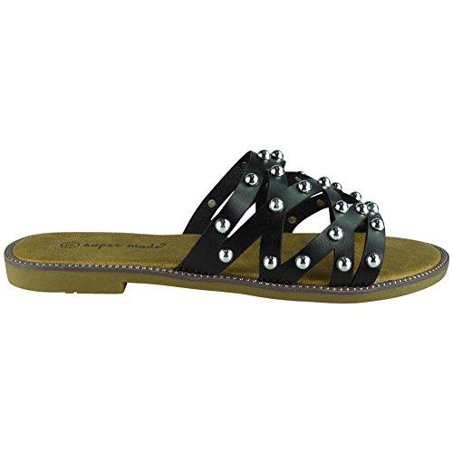 41 Glissent Pantoufles Chaussures des Noir Nouveaux Taille la Femmes 36 Cloutés Comfy sur Cloutés Summer LoudLook Flats OHZwB8qx0