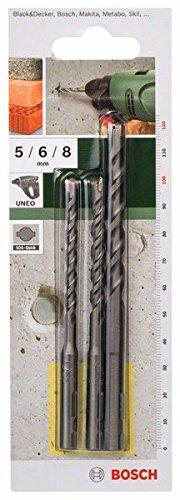 Bosch 2609256908 3 Piece Concrete -Set SDS-Quick 5/6/8mm Long Length Drill Bits