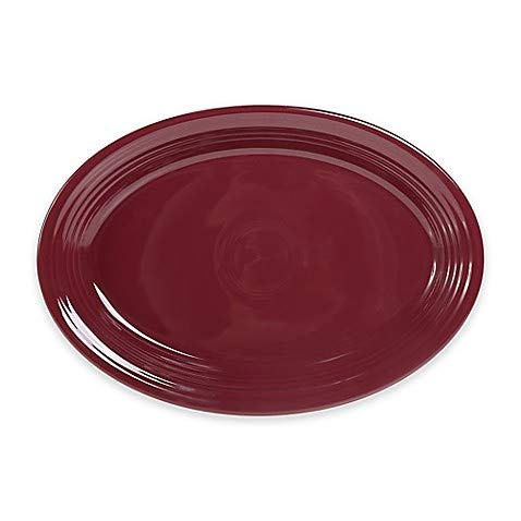 2 Pack 13.6-Inch Oval Platter in Claret - Chip-Resistant With A Brilliant Glaze, Durable Ceramic (Oval Platter Serving Fiesta)