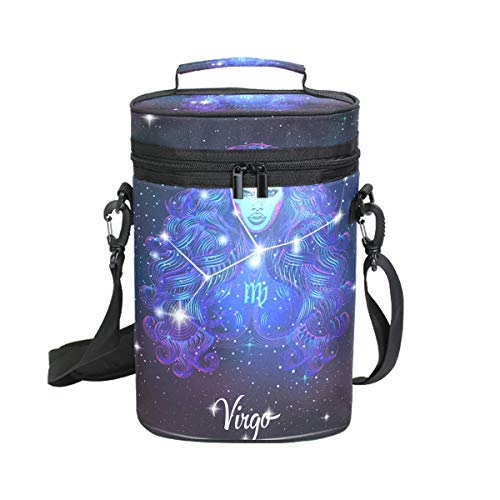 Constellation Zodiac Sign Virgo Insulated Wine Tote Carrier - 2 Bottle Travel Padded Wine Cooler Bag with Handle and Adjustable Shoulder Strap