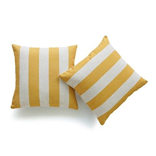 Hofdeco Set of 2Pcs Throw Pillow Case Mustard Yellow Striped