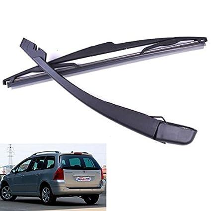 REFURBISHHOUSE Cepillos + Brazo de Cuchilla de limpiaparabrisas Negro para Bisel Trasero del Coche Peugeot 307 SW/Estate: Amazon.es: Coche y moto