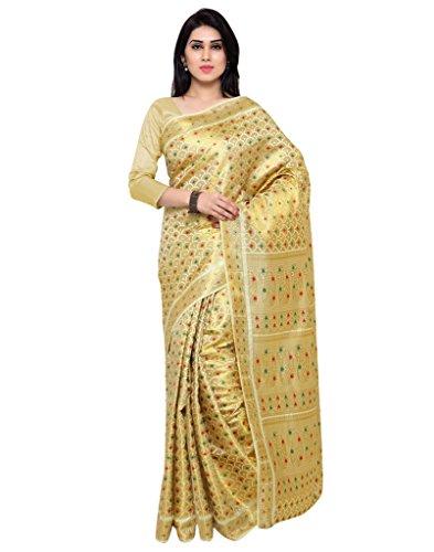 Varkala Silk Sarees Women's Art Silk Banarasi Saree With Blouse Piece_(ND1101CM_Cream) by Varkala Silk Sarees
