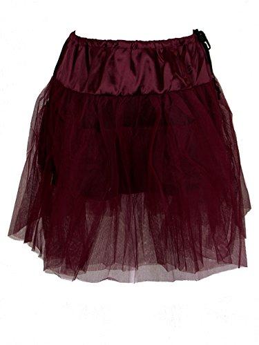 Plus Size Burgundy Red Gothic Rockabilly Retro 50's Organza Petticoat (1X-2X)