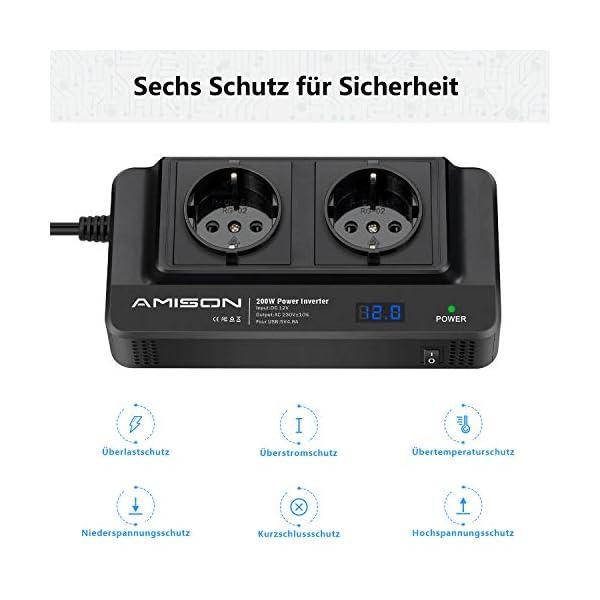 41 uHKWVgHL 200W KFZ Wechselrichter, Amison Spannungswandler 12V auf 230V mit Smart echtzeitdarstellung LCD, 2 Steckdosen und 4 USB…