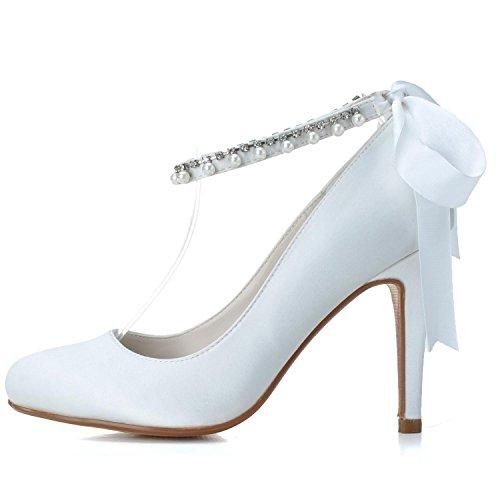 Spitze Toe High Heels Prom Pumps Hochzeit Elobaby Bänder Closed Schuhe Abend Satin Damen TwqgfBZn4