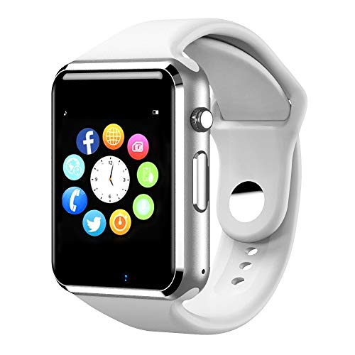 Aeifond Smart Watch Bluetooth Smartwatch Touch Screen Wrist Watch Sports Fitness Tracker with Camera SIM SD Card Slot Pedometer Compatible iPhone iOS Samsung LG Android Men Women Kids (White1) (Sim-sport)