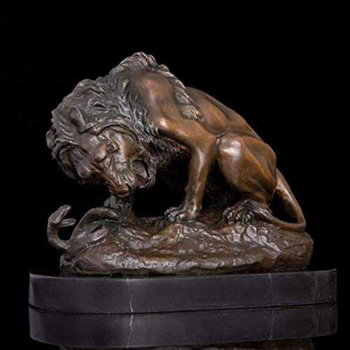 QWERWEFR 28 cm Western Art Deco Bronze Statue Marble Lion Puma Catamountain Snake Art Sculpture