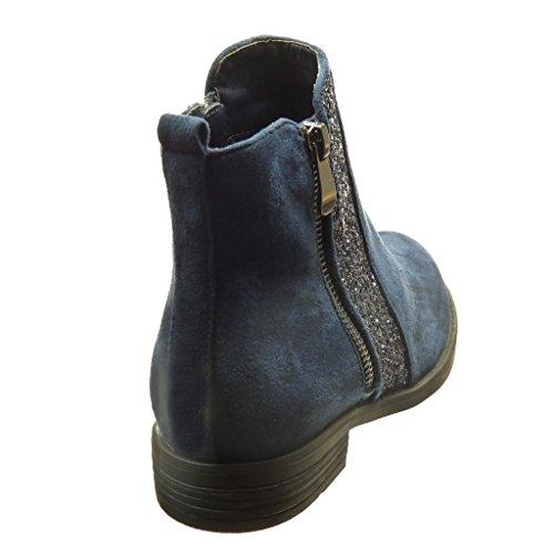Angkorly - damen Schuhe Stiefeletten - Hohe - glitzer - Reißverschluss Blockabsatz 2 CM - Blau