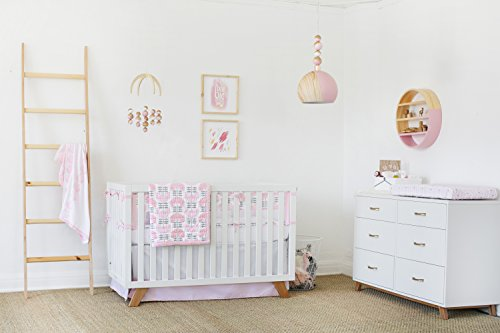 Petunia Pickle Bottom Dreaming in Dax 3 Piece Crib Bedding Set, Pink/Gray/White