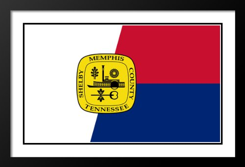 Memphis, Tennessee Flag Wood 20x23 Framed and Double Matted Photo - Galleria Memphis