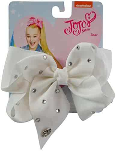 I WEAR JOJO JoJo Girls Siwa White Bow with Rhinstone Hair Bow