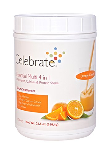Celebrate Essential Multi 4 in 1 Multivitamin Calcium and Protein Shake - Orange Cream - 14 Servings