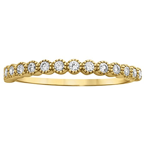 Olivia Paris 14k Gold Milgrain Bezel Set Diamond Ring (1/4 cttw, H-I Color, SI1-SI2 Clarity) (yellow-gold, 7)