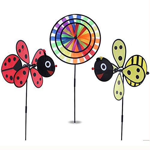ASWCOWY 20 in. Pinwheels Windmills Wind Spinners 3 Pack Made of Durable 100% Weatherproof Nylon and Fiberglass Children's Toys Outdoor Camping Kindergarten Garden Lawn Yard Decor (style2) -