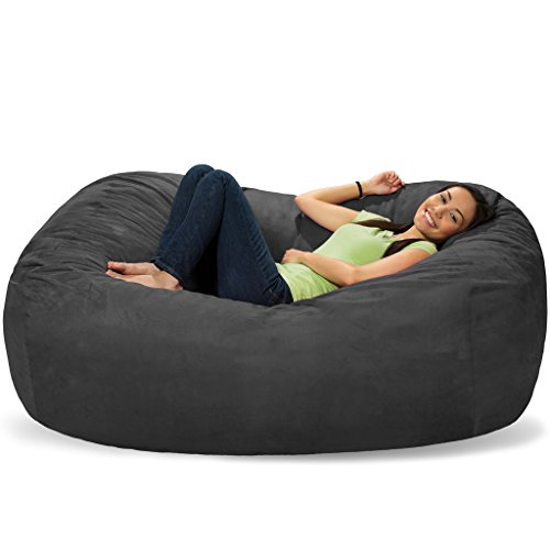 Comfy Sacks 6 Ft Lounger Memory Foam Bean Bag Chair, Charcoal Micro Suede