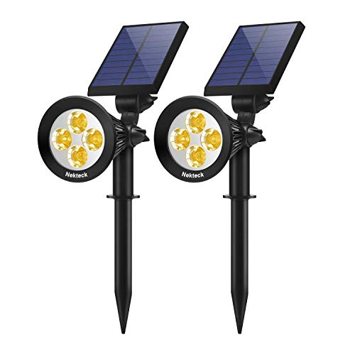 Nekteck Solar Light Outdoor, 2-in-1 Outdoor Solar Spotlights Powered Adjustable Wall Light Landscape Lighting, Bright and Dark Sensing, Auto On/Off for Yard, Pathway, Walkway, Garden, Driveway