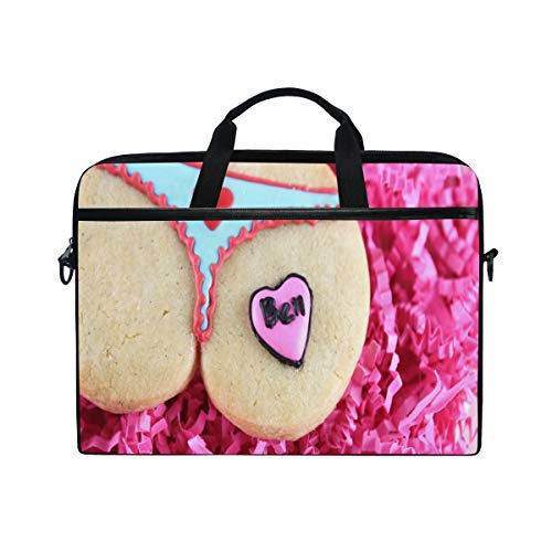 Creative Love Cookies 14 15inch Laptop Case Laptop Shoulder Bag Notebook Sleeve Handbag Computer Tablet Briefcase Carrying Case Cover with Shoulder Strap Handle for Men Women Travel/Business/School