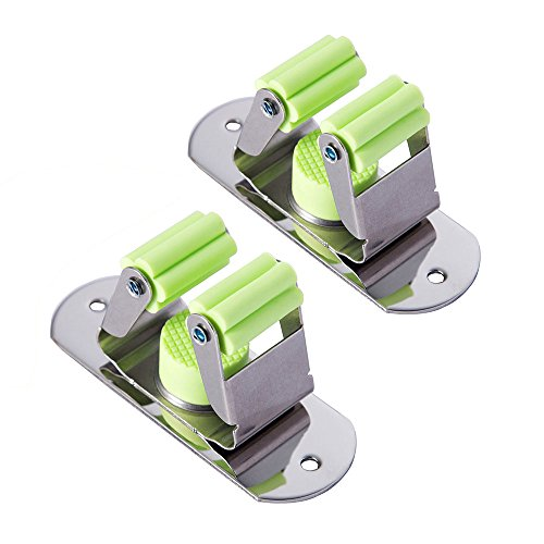 MUNTO Mop and Broom Holder Wall Mount, Closet Storage Organizer, Screws and Self Adhesive Kitchen Rack Utility Hanger, Storage Solutions for Garage, Garden and Laundry Room