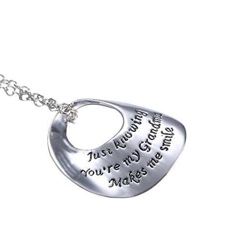 """Luvalti """"Just knowing You are my Grandma Makes me smile"""" – Family Pendant Necklace"""