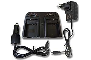 vhbw Cargador rápido Cargador dual 2 compatimientos incl. cargador coche para Panasonic HDC-SX5