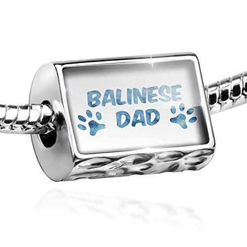 Bead Dog & Cat Dad Balinese Charm Fits All European Bracelets Balinese Bead Bracelet