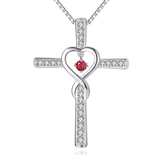 January Garnet Birthstone Infinity Endless Love God Cross CZ Pendant Necklace, Birthday Necklace, Jewelry Gifts for Women Girls Sister Wife Girlfriend Mom Mother Grandma Daughter Friendship Christmas (January Birthstone Cross)