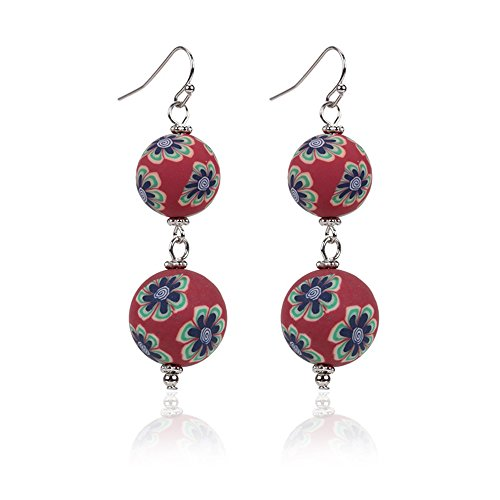 (JUESJ Chinese Style Handmade Soft Porcelain Jewelry National Wind Porcelain Beads Dangle Earrings Trendy Unique 2018 (Red))