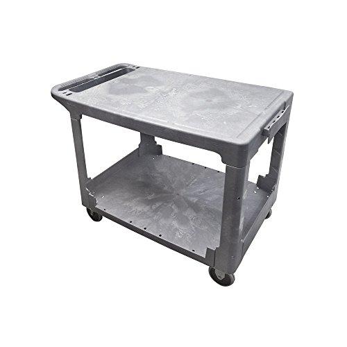 Flat Shelf Utility Cart - Mobile Cart Carrier Plastic FLAT SERVICE UTILITY CART 2 Shelves 500lbs 25