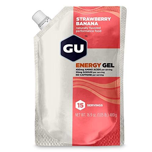 GU Energy Original Sports Nutrition Energy Gel, Strawberry Banana, 15-Serving Pouch