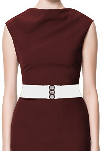 LUNA Fashion 2 Inch Elastic Cinch Belt - Original - White - Wear Cinch Belt