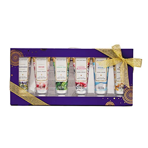Spa Luxetique Shea Butter Hand Cream Gift Set, 6 Travel Size Nourishing Hand Cream Set with Natural Aloe and Vitamin E, Moisturizing & Hydrating for Dry Hands. Ideal Gift for Women, Her, 1.02oz Tube