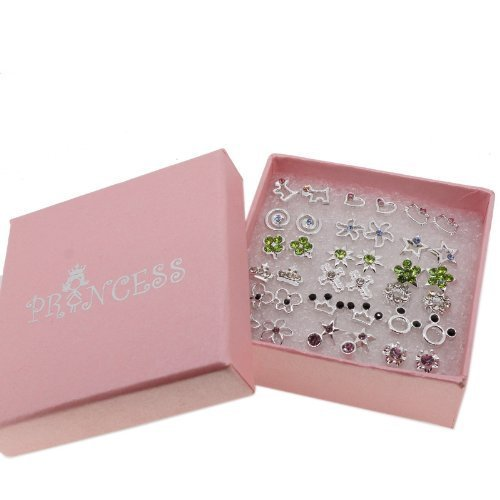 Pack of 18 Color Crystal Fashion Jewelry Stud Earrings for Teen Girls (Post Office Box Costume)