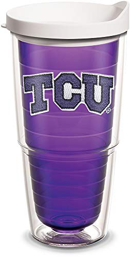 Tervis 1101337 TCU Horned Frogs Logo Tumbler with Emblem and White Lid 24oz, Amethyst ()