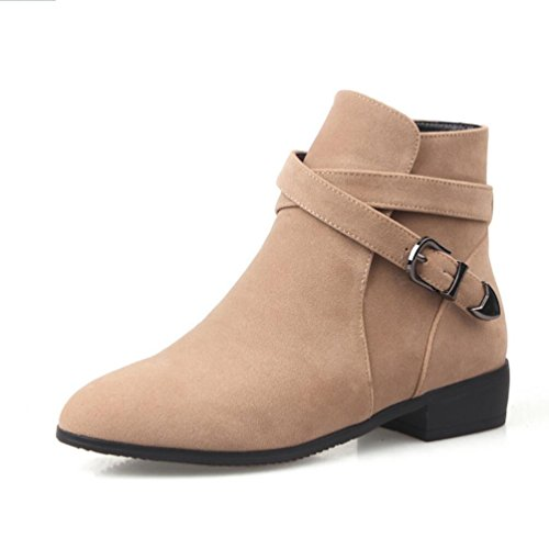 Ei&iLI Chaussures talons plat PU cheville Bootie bout pointu bottes pour dames tenue décontractés , apricot , 39