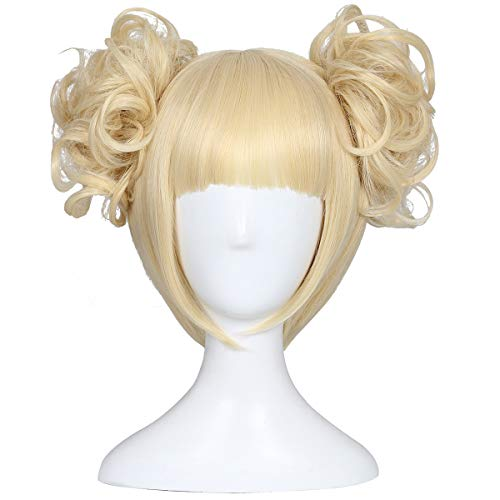 ColorGround Blonde Cosplay Wig and 2 Detachable Buns with Clips -