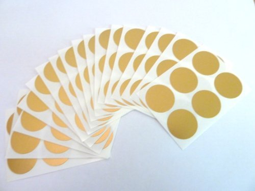 Minilabel 102 Labels , 25mm Diameter Round , Removable / Low Tack Colour Code Stickers Matt Gold ()
